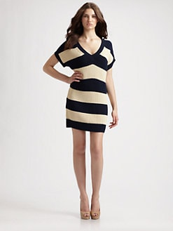 MICHAEL MICHAEL KORS - Striped V-Neck Sweater Dress