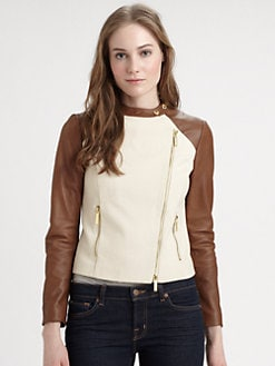 MICHAEL MICHAEL KORS - Cotton/Leather Moto Jacket