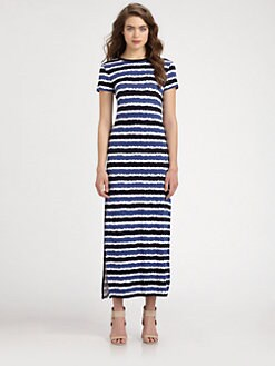 MICHAEL MICHAEL KORS - Striped Crewneck Maxi Dress