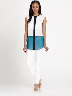 MICHAEL MICHAEL KORS - Sleeveless Colorblock Chiffon Blouse