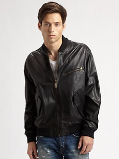 McQ Alexander McQueen - Leather Baseball Jacket