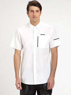 T by Alexander Wang - Geometric-Trimmed Cotton Shirt