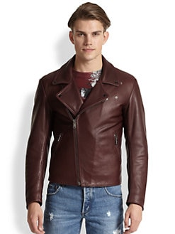 McQ Alexander McQueen - Leather Padded Biker Jacket
