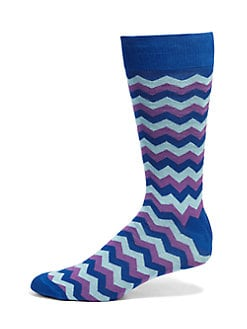 Saks Fifth Avenue Men's Collection - Striped Cotton-Blend Socks