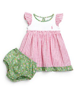 Ralph Lauren - Infant's Two-Piece Ruffled Dress & Bloomers Set