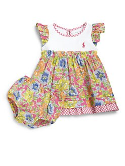 Ralph Lauren - Infant's Two-Piece Floral Gingham Dress & Bloomers Set