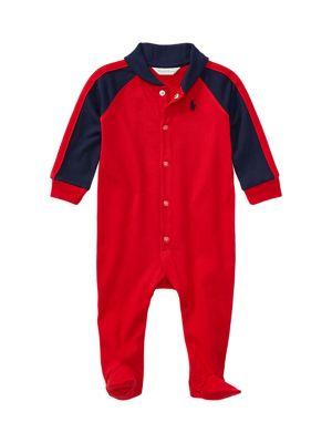 Baby Boy's Cotton Shawl-Collar Footie