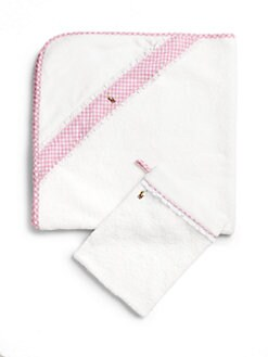Ralph Lauren - Infant's Two-Piece Gingham Hooded Towel & Mitt Set