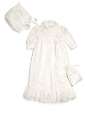Infant's Three-Piece Christening Gown,  Bonnet & Bag Set