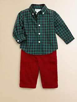 Ralph Lauren - Infant's Two-Piece Plaid Poplin Shirt & Corduroy Pants Set