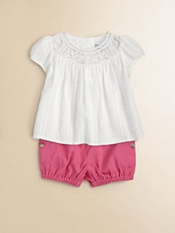 Ralph Lauren - Infant's Crocheted Babydoll Top & Bloomers Set
