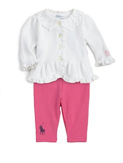 Ralph Lauren - Layette's Preppy Ruffled Cardigan