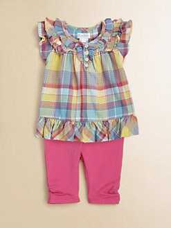Ralph Lauren - Infant's Plaid Ruffled Shirt & Leggings Set