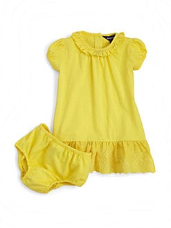 Ralph Lauren - Infant's Ruffled Cotton Dress & Bloomers Set