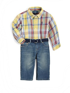 Ralph Lauren - Infant's Plaid Shirt & Denim Pants Set