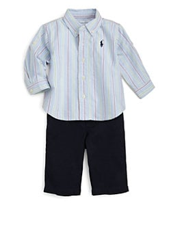 Ralph Lauren - Layette's Striped Oxford Shirt & Twill Pants Set
