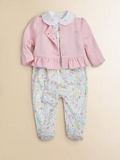 Ralph Lauren - Layette's Resort Three-Piece Floral Overall, Bodysuit & Cardigan Set