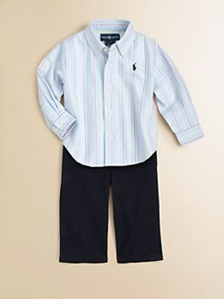 Ralph Lauren - Infant's Striped Oxford Shirt & Twill Pants Set