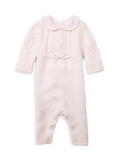 폴로 랄프로렌 여아용 아기 커버올 우주복 Polo Ralph Lauren Infants Cable-Knit Coverall,Pink