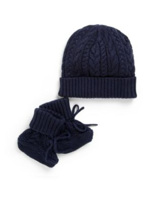 Baby's Two-Piece Hat and Bootie Set