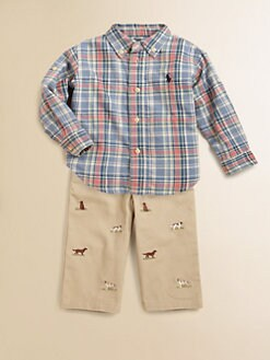 Ralph Lauren - Infant's Schiffli Icon Shirt & Pants Set