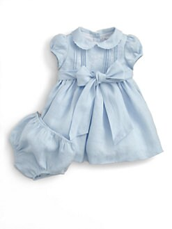 Ralph Lauren - Layette's Embroidered Linen Dress & Bloomers Set