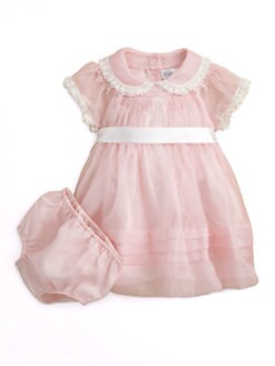 Ralph Lauren - Layette's Silk Organza Dress & Bloomers Set