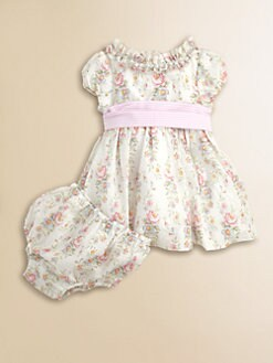 Ralph Lauren - Layette's Floral Seersucker Dress & Bloomers Set