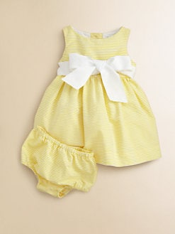 Ralph Lauren - Layette's Striped Pincord Dress & Bloomers Set