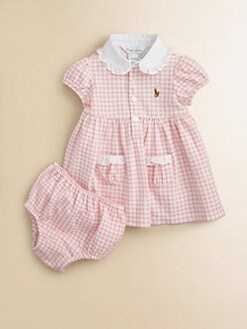 Ralph Lauren - Layette's Gingham Dress & Bloomers Set
