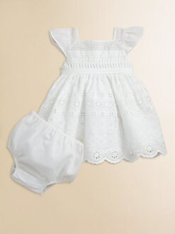 Ralph Lauren - Layette's Eyelet Embroidered Dress & Bloomers Set