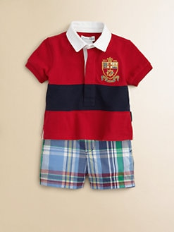 Ralph Lauren - Layette's Two-Piece Rugby Shirt & Madras Shorts Set