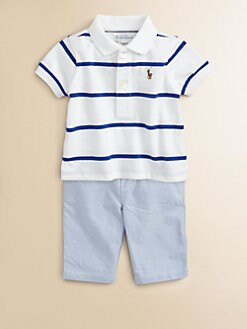 Ralph Lauren - Layette's Two-Piece Striped Polo Shirt & Pants Set