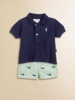 Ralph Lauren - Layette's Two-Piece Mesh Polo Shirt & Schiffli Shorts Set