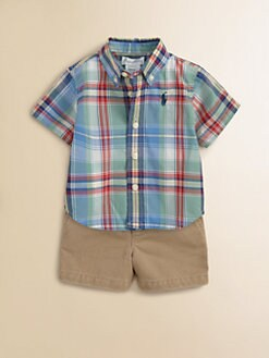 Ralph Lauren - Layette's Plaid Shirt & Cargo Shorts Set