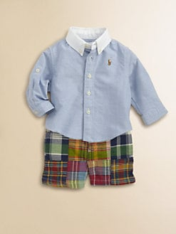 Ralph Lauren - Layette's Two-Piece Oxford Shirt & Madras Shorts Set