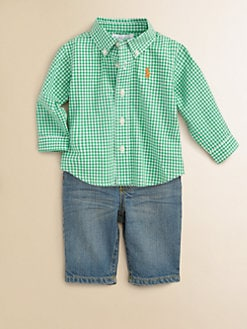 Ralph Lauren - Layette's Check Poplin Shirt & Jeans Set
