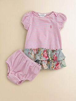 Ralph Lauren - Layette's Striped Floral Dress & Bloomers Set
