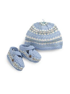 Ralph Lauren - Infant's Two-Piece Cable-Knit Hat & Booties Set