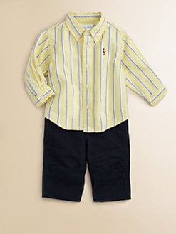 Ralph Lauren - Layette's Two-Piece Striped Shirt & Pants Set