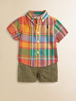 Ralph Lauren - Layette's Two-Piece Madras Shirt & Shorts Set