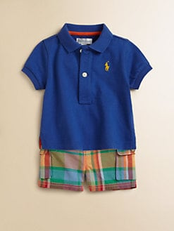 Ralph Lauren - Layette's Two-Piece Polo Shirt & Plaid Shorts Set