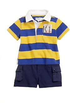 Ralph Lauren - Layette's Two-Piece Striped Jersey Rugby Shirt & Shorts Set