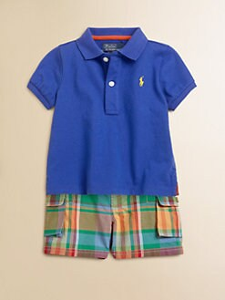 Ralph Lauren - Infant's Two-Piece Polo Shirt & Plaid Shorts Set