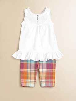 Ralph Lauren - Infant's Two-Piece Ruffled Tank & Plaid Leggings Set