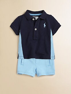 Ralph Lauren - Layette's Two-Piece Polo Shirt & Fleece Shorts Set