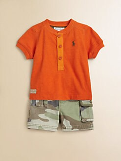 Ralph Lauren - Layette's Two-Piece Shirt & Camo Shorts Set