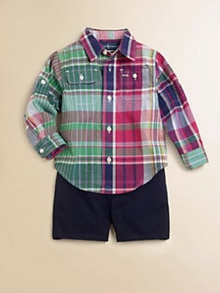 Ralph Lauren - Layette's Two-Piece Plaid Shirt & Shorts Set