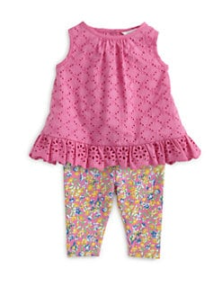Ralph Lauren - Infant's Two-Piece Eyelet Top & Floral Leggings Set