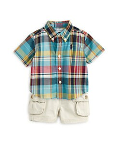 Ralph Lauren - Infant's Two-Piece Madras Plaid Shirt & Cargo Shorts Set
